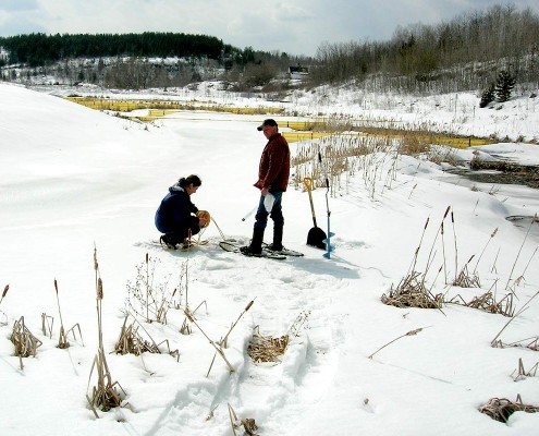 Sampling in a tailings pond